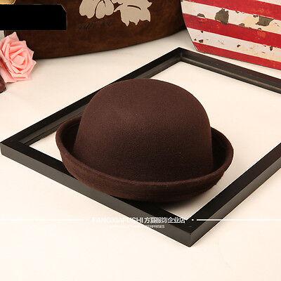 Women's Vintage Wool Felt Hat Elegant Floppy Bowler Fedora Beret Beanie Warm Cap