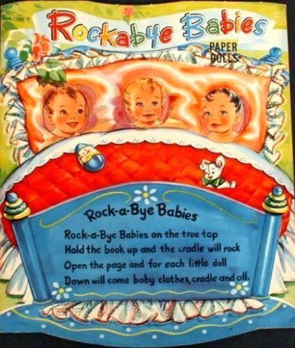 VINTGE UNCT 1952 ROCKABYE BABIES PAPER DOLL ~SCARCE~LASR REPRODUCTIN~LOPR~FREE S