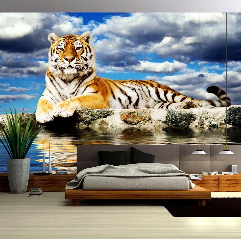 3D Tiger Clouds Sea 74 Wall Paper Murals Wall Print Wall Wallpaper Mural AU Kyra