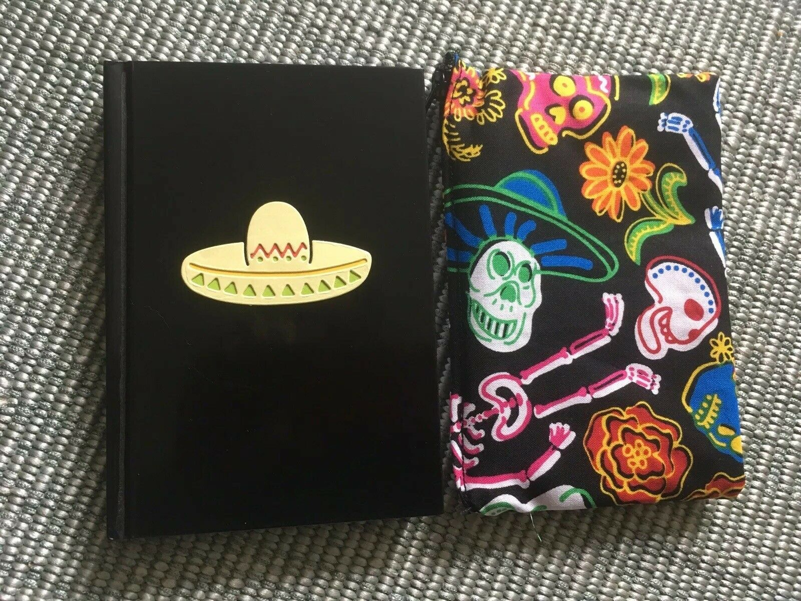 Day Of The Dead Sugar Skull Mexico🌶Cosmetic Bag +Sombrero Notebook 2pc Gift Set