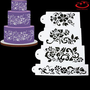 4pcs-DIY-Flowers-Cake-Border-Stencil-Fondant-Sugarcraft-Airbrush-Decorating-Tool
