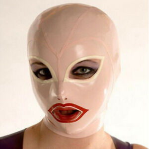 Latex Hood with Golden Wig Back Zipper Rubber Mask for Catsuit Club Wear Costume