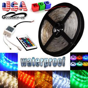 5M-16-4ft-5050-SMD-300-LED-Flexible-Strip-Light-IP67-Waterproof-12V-Multi-Colors