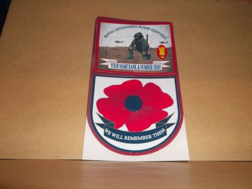 ROYAL ENGINEERS BOMB DISPOSAL CAR WINDOW REMEMBERANCE STICKER.