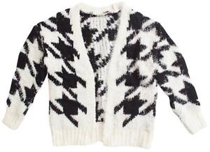 Girls-Chenille-Dogtooth-Knit-Black-amp-White-Check-Chunky-Cardigan-4-to-14-Years