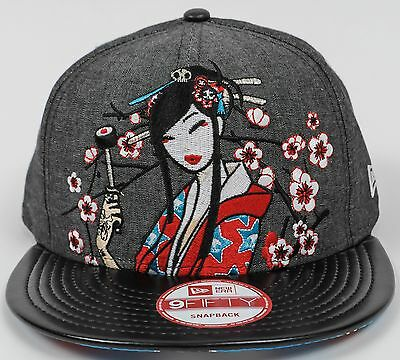Tokidoki Hat Geisha Cherry Blossom Girl Black Era 9FIFTY Baseball Cap, Snapback