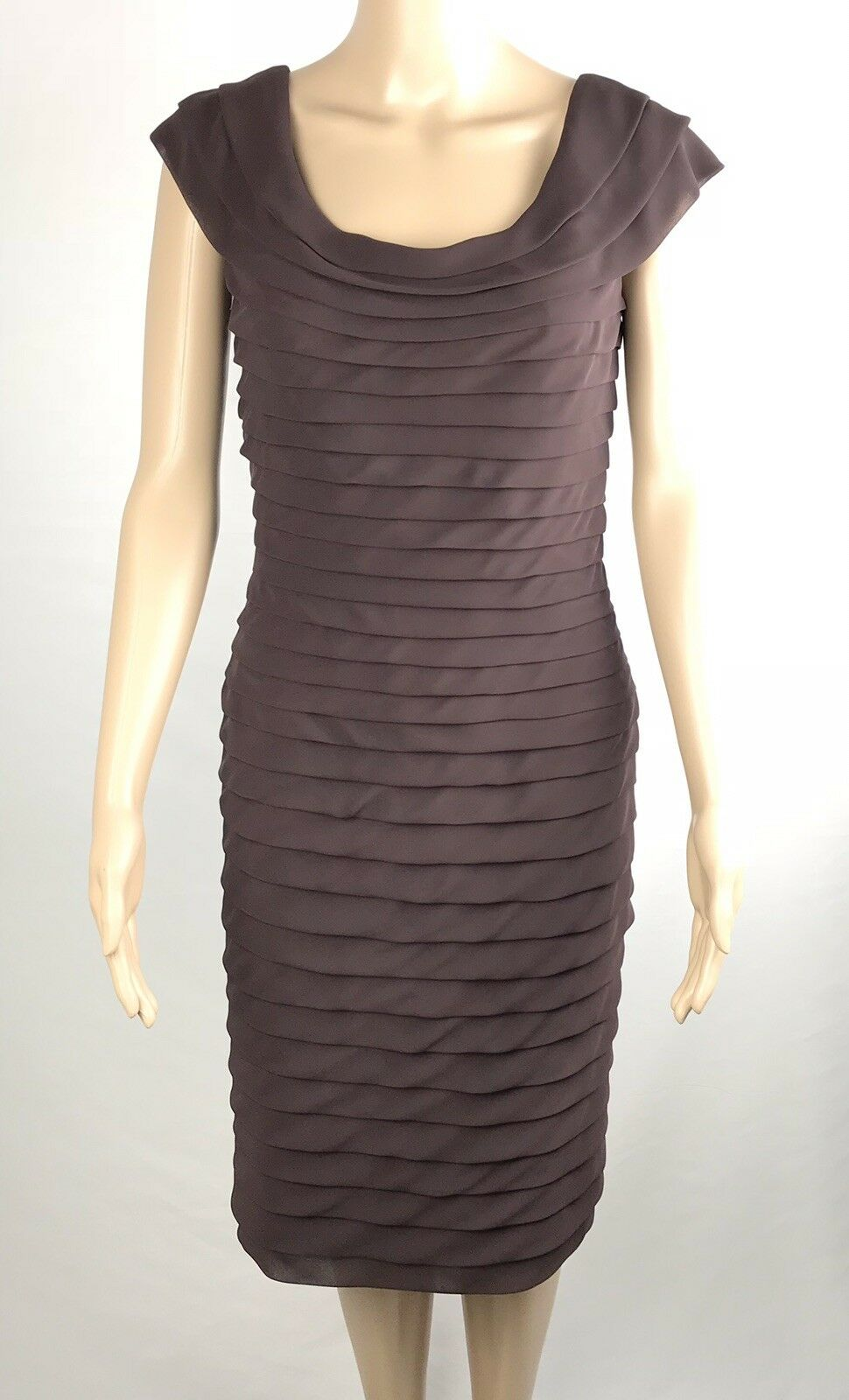 Adrianna Papell Mint Women's Brown Dress Size 6 Fully Tiered Holidays Party
