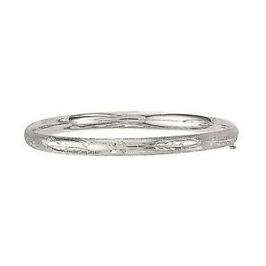 Sterling-Silver-Textured-Baby-Bangle-Safety-Clasp-Hinged-Bracelet-Children-5-5-034