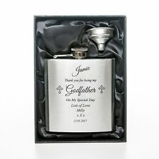 NEW Engraved GODFATHER Brushed Hip Flask Gift Box For Godparent