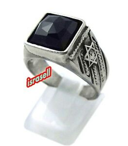 925-Sterling-Silver-JEWISH-STAR-OF-DAVID-RING-WITH-ONYX-STONE-Made-in-Israel