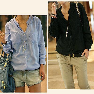 Top Fashion Women Long Sleeve Loose Shirt Cotton Top Blouses Tee Shirt 4 Color Z