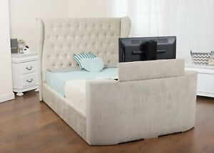 Image Is Loading Leia Wing Back Diamond Studded Fabric TV Bed