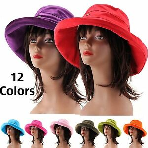 New Foldable Women s Cotton Floppy Summer Hat Wide Brim Crushable ... 8bb334213a0