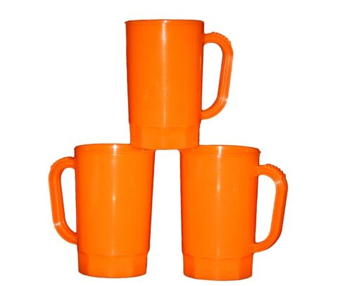 6 Large Orange Plastic Beer Mugs//Steins Holds 32 Ounces  Made In America *