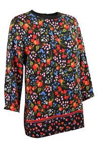 Womens-Ladies-Black-Vibrant-Colour-Floral-Long-Sleeve-Top-Size-6-12-amp-20