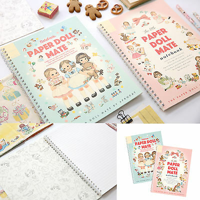 Afrocat Paper Doll Mate Spring Notebook Paper 60 Pages Thin 7mm Line Coloring
