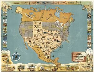 Map Of America Texas.Details About 1948 Pictorial Map Official Texas Brags Map Of North America Poster 8826002