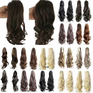 Clip-in-Hair-Extensions-Claw-Ponytail-Red-Dark-Brown-White-Blonde-Ginger-Plum