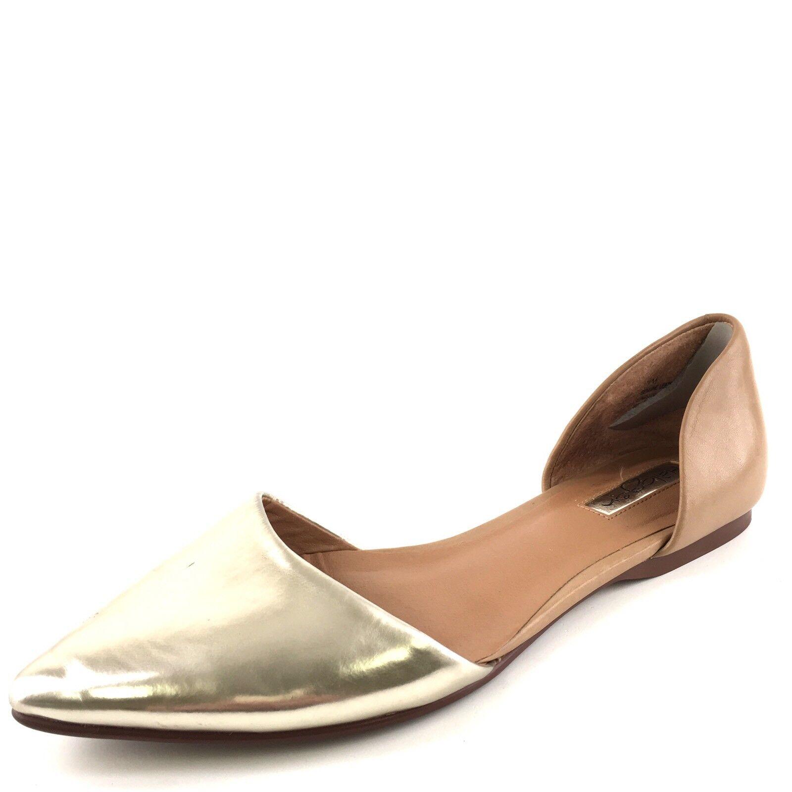 Halogen Kayla D'Orsay gold Tan Leather Flats Women's Size 7.5 M