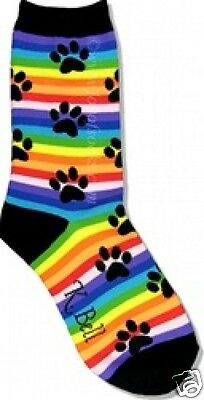 K.Bell Bright Rainbow Stripes Feline Cats Or Dogs Paw Print Ladies Socks New