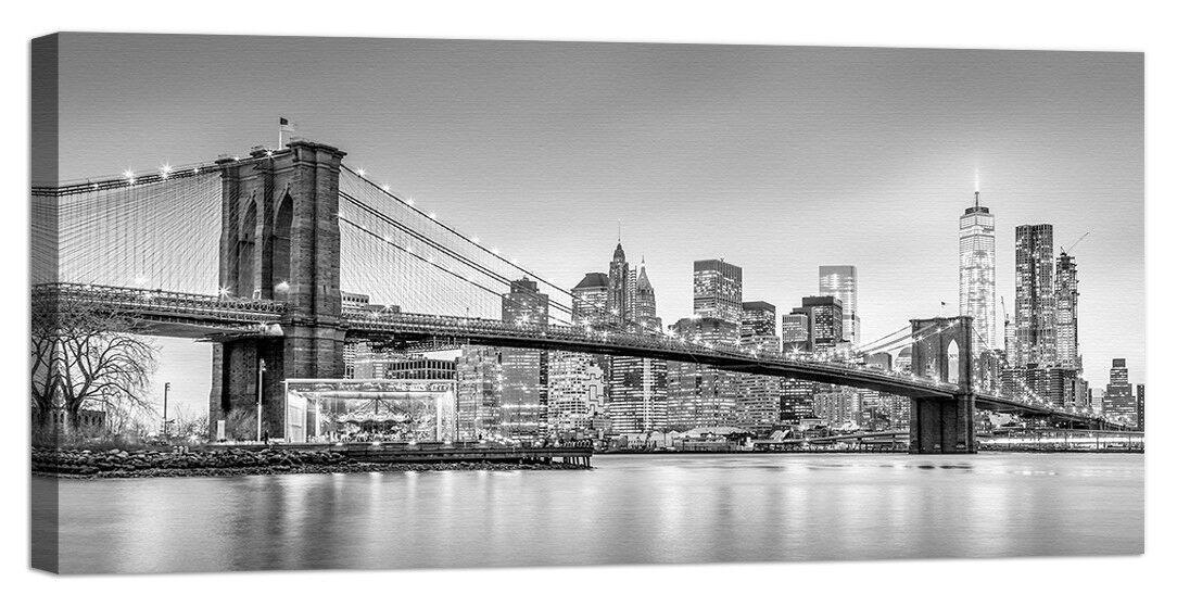 Quadro Stampa su Tela con swarovski new york panorama brooklyn bianco e noir