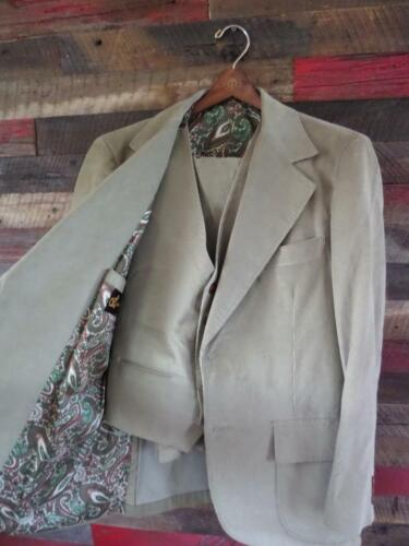 vintage 3Pc Suit CORDUROY tan brown 40S 34x30