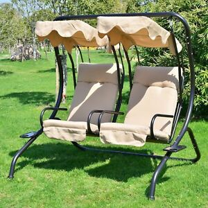 Outsunny-Luxury-Metal-Swing-Chair-2-Separated-Seater-W-Canopy-amp-Cushions-Beige
