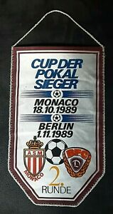 Orig-Wimpel-BFC-Dynamo-Berlin-AS-Monaco-1989-Fanion-pennant-DDR-Fussball-DFV