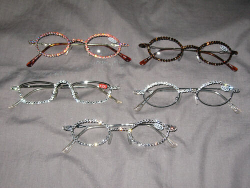 Swarovski Crystal Jeweled Reading Glasses +3.25 Bling Wire Frames NEW!