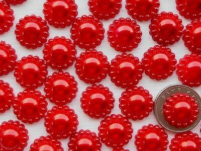 "100! Red Pearl Flower Flatback Embellishments - 12mm/0.4"" - Craft Pearls"