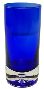 Block Crystal Stockholm Cobalt Blue Highball Bubble Glass Tumbler 6 3/8""