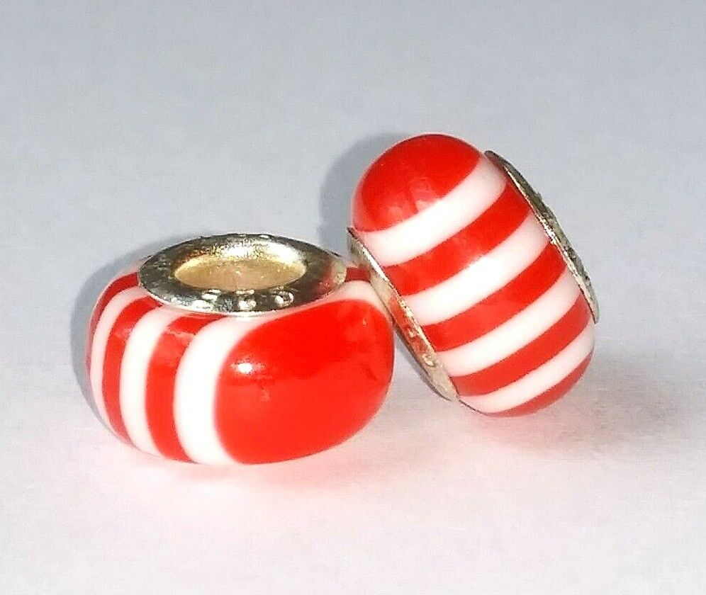 ! Set of 2 925 Sterling Silver Red Coral & White Charm Slider Beads Charms