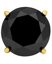 1/2 Ctw 14K Solid Yellow Gold Basket Set Single Stud Men's Earring Black Diamond