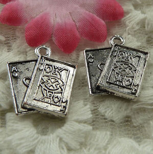 free-ship-40-pieces-Antique-silver-playing-cards-charms-19x17mm-4174