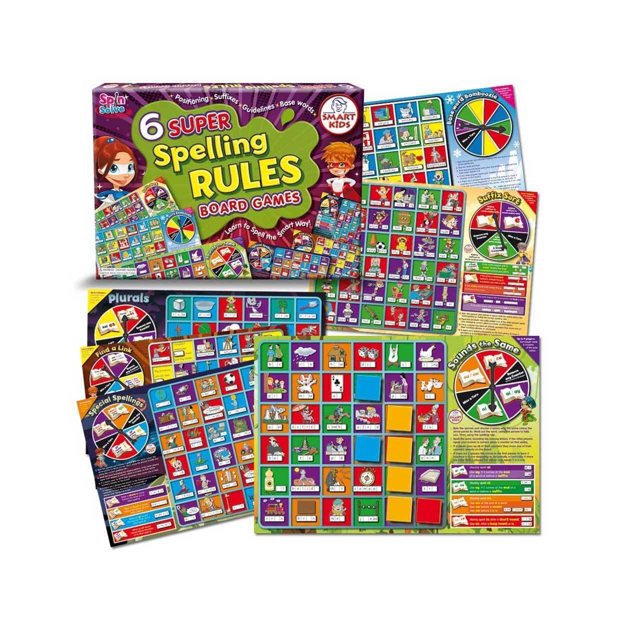 Smart Kids Six Super Spelling Rules Board Games