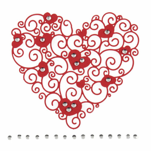 Beautiful Red Filigree /& Jewelled Heart Sticker Craft Embellishments