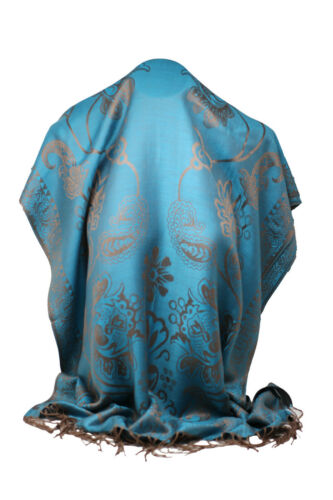 Women/'s Self Embossed Paisley and Floral Print Reversible Pashmina Fell Scarf