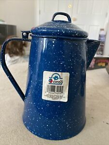 Vintage-Blue-Speckled-Enamel-COFFEE-POT-Cowboy-Camping-w-Hinged-Lid-2-Qt-White