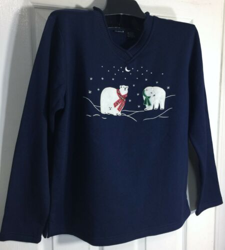 New North Crest Women fleece top X-LARGE Blue Embellished shirt Holiday gift