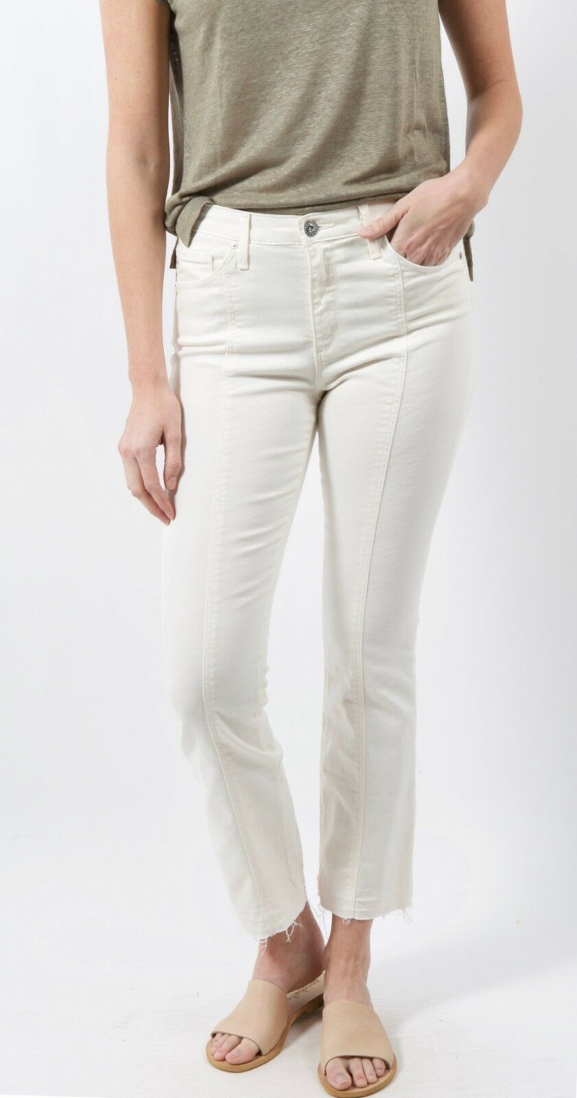 New AG MISTY MORNING JODI CROP WITH SEAM FRONT Jeans SIZE 27 Sand Cream