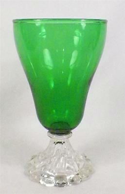 Burple Water Goblet Anchor Hocking Green Retro Vintage Stem Nice Condition