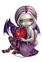 SILVER HAIRED BABY DRAGON FAIRY & Heart STICKER/VINYL DECAL Artwork Jasmine B