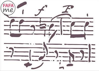Decoupage-SM011 estilo Antiguo notas musicales patrones 15 X 21 Cm Plantilla rústico