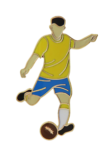Brazil Football Player Gold Plated Pin Badge