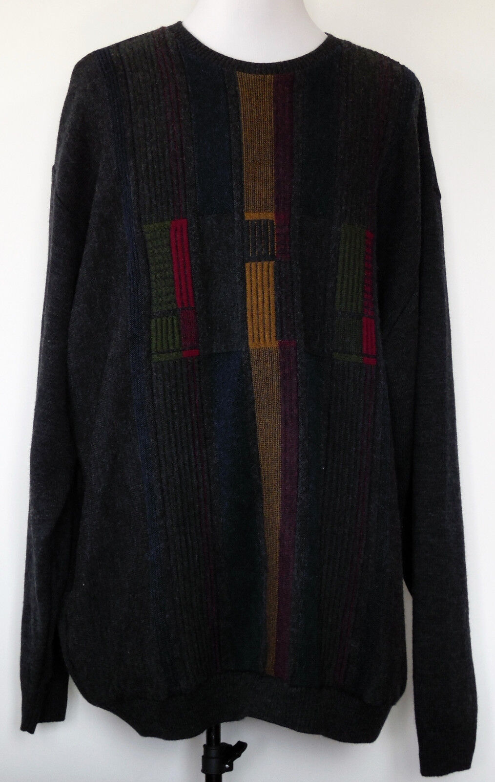 Tosani Canada Wool Blend Charcoal grau w/Multi-coloROT Front Design Sweater 4XLT