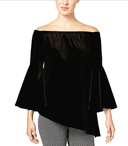 NY-COLLECTION-New-XL-Black-Velvet-Off-Shoulder-Evening-Blouse-Bell-Sleeve-Top-NW