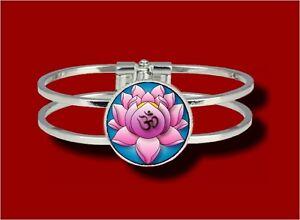 Ohm Symbol Lotus Flower Chakra Hindu Meditate Hinged Bangle Bracelet
