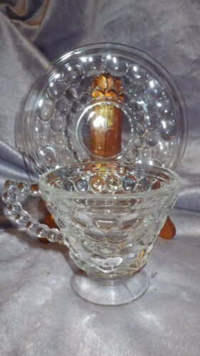 Vintage Tea Cup and Saucer Set Clear Glass Bubble pattern Indiana Glass 16pieces