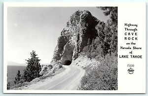 VTG Postcard Real Photo RPPC California CA Cave Rock Lake Tahoe Frashers B1