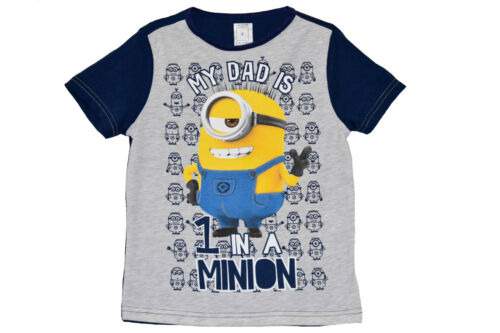 """BOY//GIRL/'S MINIONS /""""MY DAD IS ONE IN A MINION/"""" SHORT SLEEVE T SHIRT//TOP 2-7Y"""